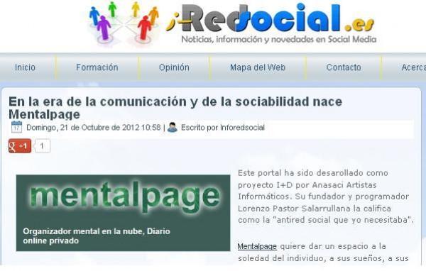InfoRedSocial publica sobre mentalpage