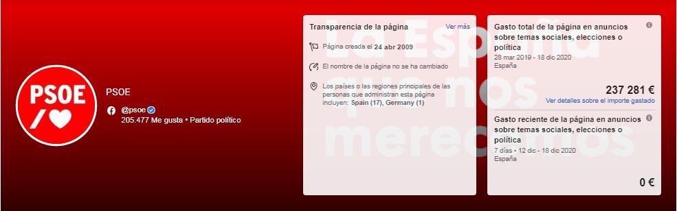 gasto publicitario en facebook del perfil principal del PSOE en esta red