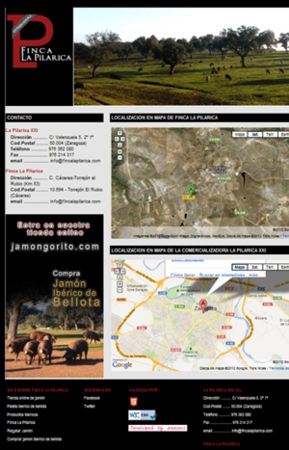 Página web informativa: Finca La Pilarica