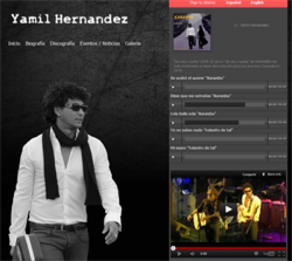 Página Web en dos idiomas de Yamil Hernandez