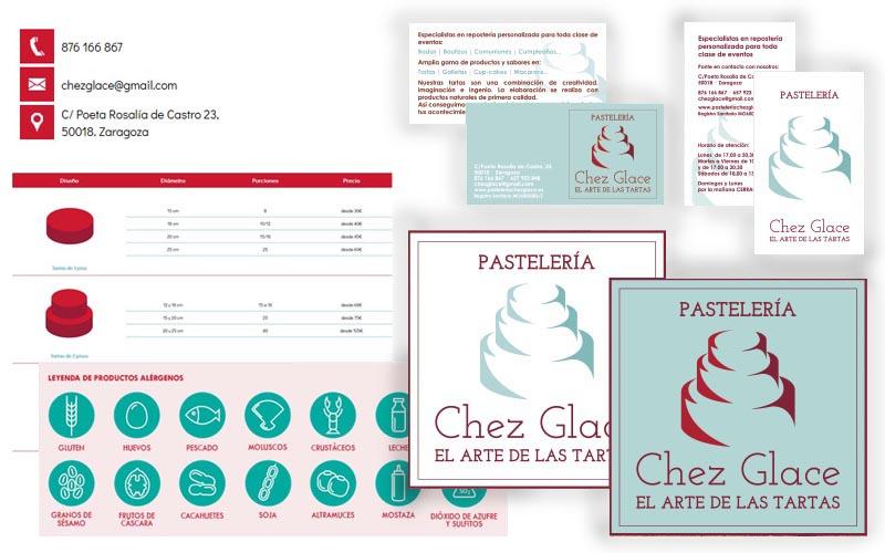 Papelería e iconografía para el e-commerce de Pastelería Chez Glace
