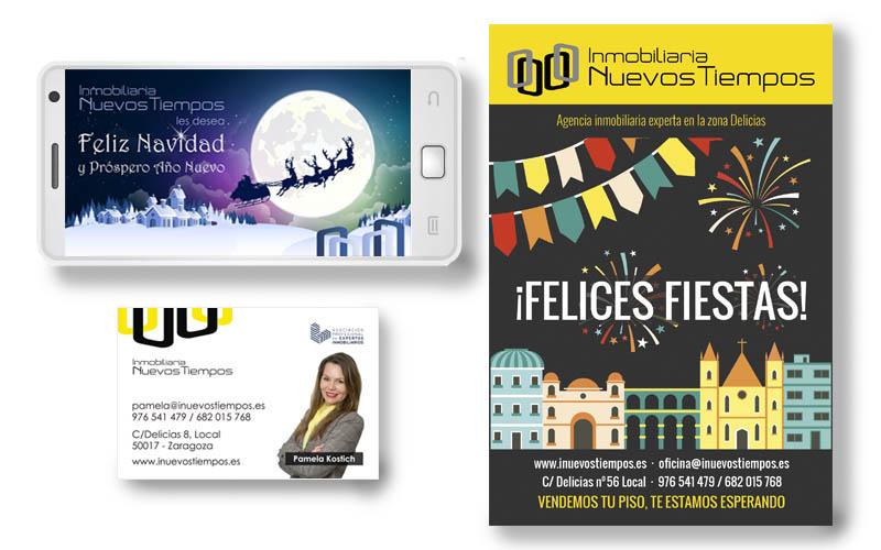 Tarjeta, flyer y banner navideño para Inmobiliaria Nuevos Tiempos