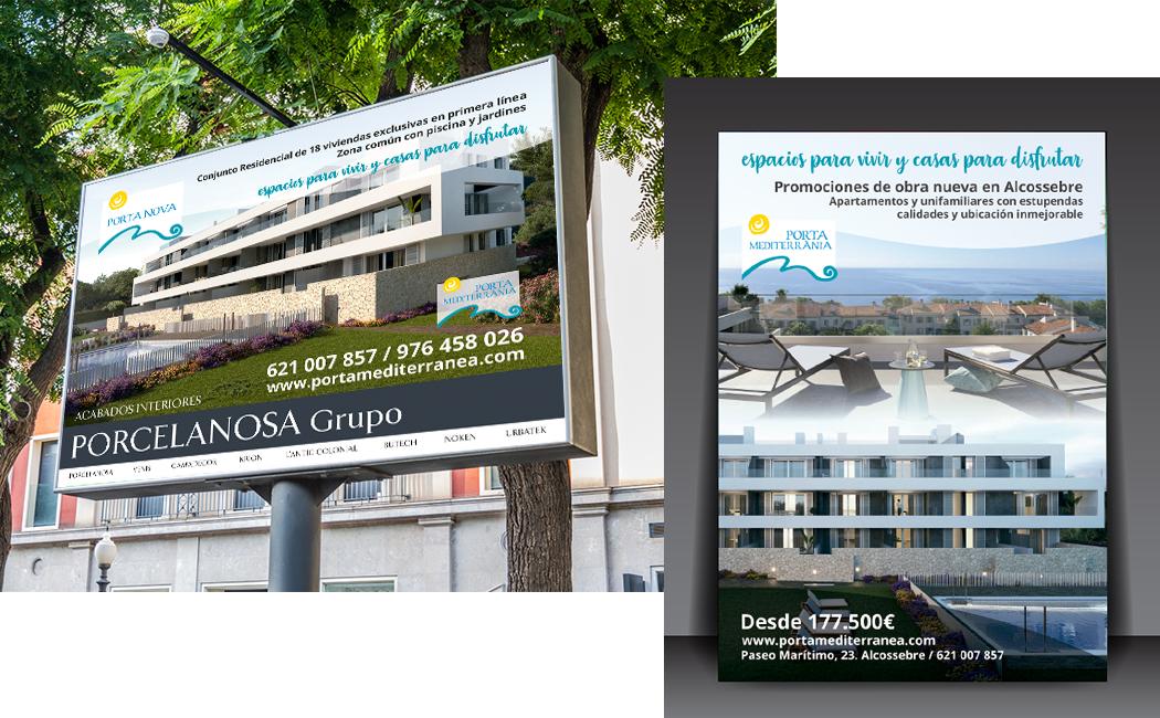 Valla y Flyer Porta Mediterránea